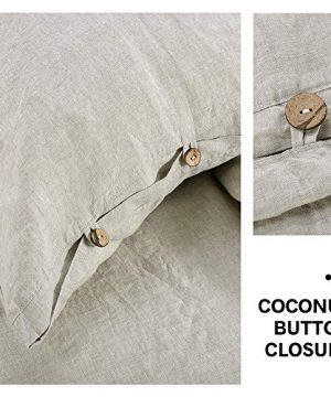 SimpleOpulence 100 Linen Duvet Cover Set 3 Piece Belgian Flax Breathable Bedding King Size 104x 92 1 Comforter Cover2 Pillowshams With Coconut Button Closure Natural Linen 0 2 300x360
