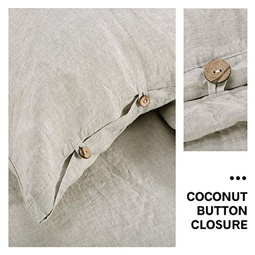 SimpleOpulence 100 Linen Duvet Cover Set 3 Piece Belgian Flax Breathable Bedding King Size 104x 92 1 Comforter Cover2 Pillowshams With Coconut Button Closure Natural Linen 0 2