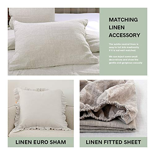 SimpleOpulence 100 Linen Duvet Cover Set 3 Piece Belgian Flax Breathable Bedding King Size 104x 92 1 Comforter Cover2 Pillowshams With Coconut Button Closure Natural Linen 0 4