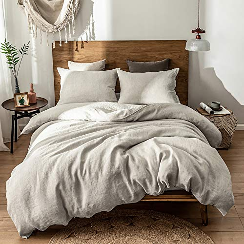 SimpleOpulence 100 Linen Duvet Cover Set 3 Piece Belgian Flax Breathable Bedding King Size 104x 92 1 Comforter Cover2 Pillowshams With Coconut Button Closure Natural Linen 0