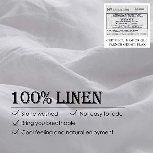 SimpleOpulence 100 Linen Duvet Cover Set 3pcs Basic Style Natural French Washed Flax Solid Color Soft Breathable Farmhouse Bedding With Button Closure Queen White 0 0