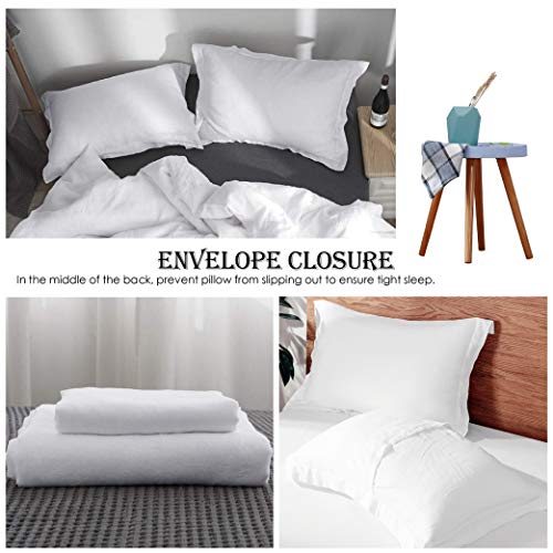 SimpleOpulence 100 Linen Duvet Cover Set 3pcs Basic Style Natural French Washed Flax Solid Color Soft Breathable Farmhouse Bedding With Button Closure Queen White 0 2