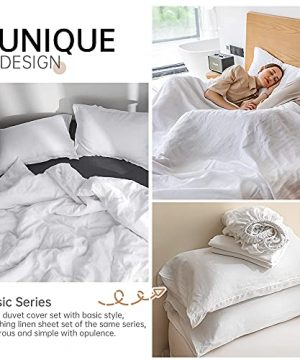 SimpleOpulence 100 Linen Duvet Cover Set 3pcs Basic Style Natural French Washed Flax Solid Color Soft Breathable Farmhouse Bedding With Button Closure Queen White 0 3 300x360