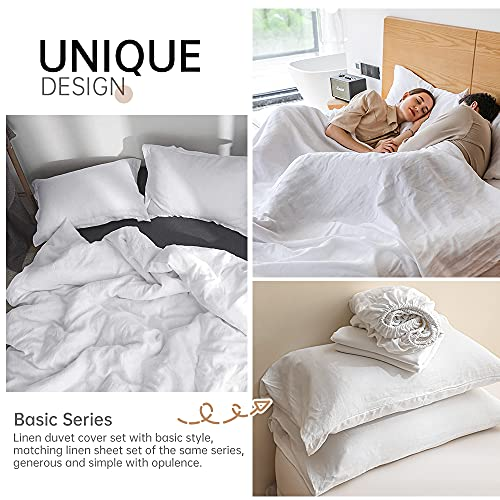 SimpleOpulence 100 Linen Duvet Cover Set 3pcs Basic Style Natural French Washed Flax Solid Color Soft Breathable Farmhouse Bedding With Button Closure Queen White 0 3