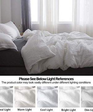 SimpleOpulence 100 Linen Duvet Cover Set 3pcs Basic Style Natural French Washed Flax Solid Color Soft Breathable Farmhouse Bedding With Button Closure Queen White 0 4 300x360