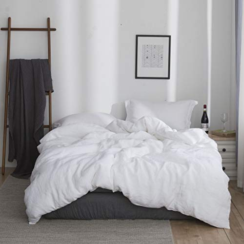 SimpleOpulence 100 Linen Duvet Cover Set 3pcs Basic Style Natural French Washed Flax Solid Color Soft Breathable Farmhouse Bedding With Button Closure Queen White 0
