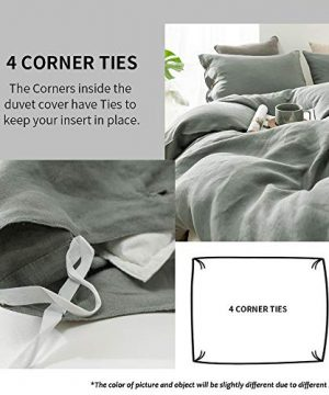 SimpleOpulence 100 Linen Duvet Cover Set With Coconut Button Closure Washed 2 Pieces 1 Duvet Cover 1 Pillowcase Soft Breathable Farmhouse Cushing Green Twin Size 0 0 300x360