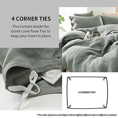 SimpleOpulence 100 Linen Duvet Cover Set With Coconut Button Closure Washed 2 Pieces 1 Duvet Cover 1 Pillowcase Soft Breathable Farmhouse Cushing Green Twin Size 0 0