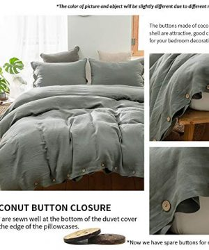 SimpleOpulence 100 Linen Duvet Cover Set With Coconut Button Closure Washed 2 Pieces 1 Duvet Cover 1 Pillowcase Soft Breathable Farmhouse Cushing Green Twin Size 0 1 300x360