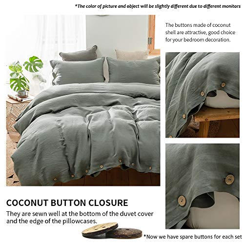 SimpleOpulence 100 Linen Duvet Cover Set With Coconut Button Closure Washed 2 Pieces 1 Duvet Cover 1 Pillowcase Soft Breathable Farmhouse Cushing Green Twin Size 0 1