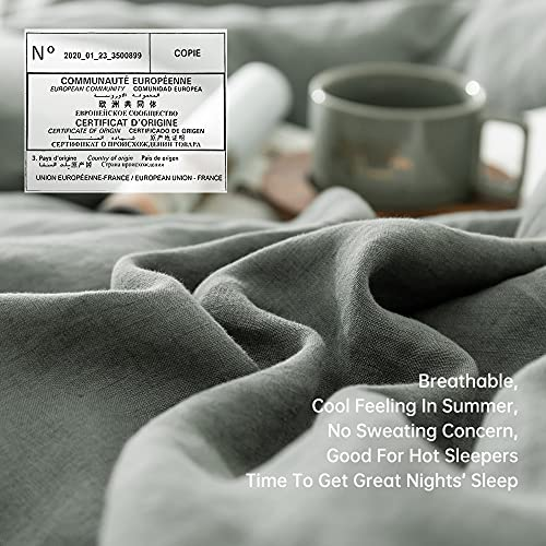 SimpleOpulence 100 Linen Duvet Cover Set With Coconut Button Closure Washed 2 Pieces 1 Duvet Cover 1 Pillowcase Soft Breathable Farmhouse Cushing Green Twin Size 0 2