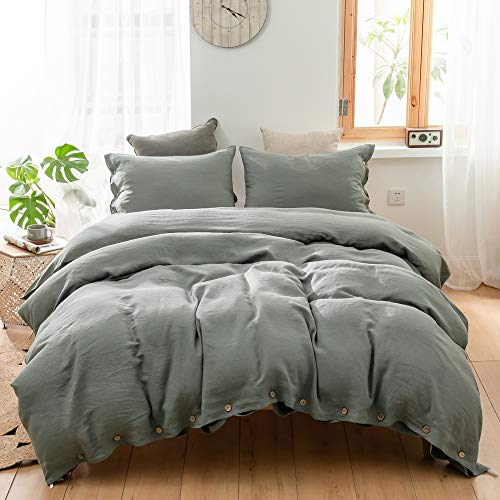 SimpleOpulence 100 Linen Duvet Cover Set With Coconut Button Closure Washed 2 Pieces 1 Duvet Cover 1 Pillowcase Soft Breathable Farmhouse Cushing Green Twin Size 0