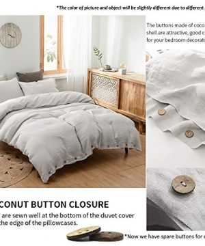SimpleOpulence 100 Linen Duvet Cover Set With Coconut Button Closure Washed 3 Pieces 1 Duvet Cover 2 Pillowcases Soft Breathable Farmhouse Light Grey California King Size 0 0 300x360