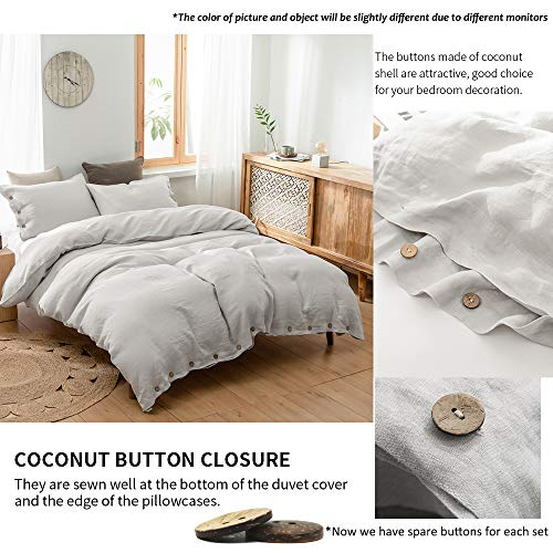 SimpleOpulence 100 Linen Duvet Cover Set With Coconut Button Closure Washed 3 Pieces 1 Duvet Cover 2 Pillowcases Soft Breathable Farmhouse Light Grey California King Size 0 0