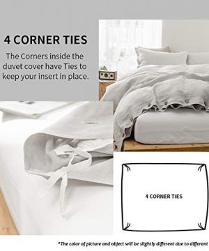 SimpleOpulence 100 Linen Duvet Cover Set With Coconut Button Closure Washed 3 Pieces 1 Duvet Cover 2 Pillowcases Soft Breathable Farmhouse Light Grey California King Size 0 1 300x360