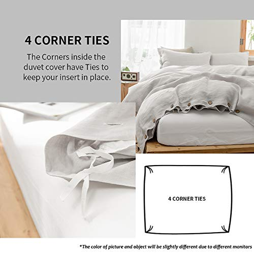 SimpleOpulence 100 Linen Duvet Cover Set With Coconut Button Closure Washed 3 Pieces 1 Duvet Cover 2 Pillowcases Soft Breathable Farmhouse Light Grey California King Size 0 1