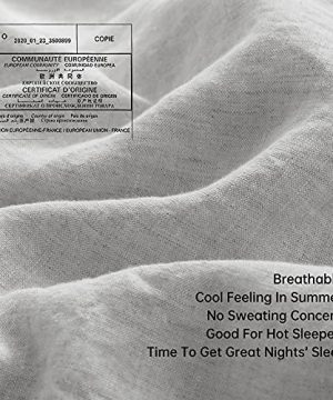 SimpleOpulence 100 Linen Duvet Cover Set With Coconut Button Closure Washed 3 Pieces 1 Duvet Cover 2 Pillowcases Soft Breathable Farmhouse Light Grey California King Size 0 2 300x360