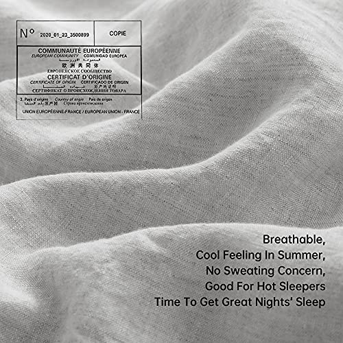 SimpleOpulence 100 Linen Duvet Cover Set With Coconut Button Closure Washed 3 Pieces 1 Duvet Cover 2 Pillowcases Soft Breathable Farmhouse Light Grey California King Size 0 2