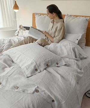 SimpleOpulence 100 Linen Duvet Cover Set With Coconut Button Closure Washed 3 Pieces 1 Duvet Cover 2 Pillowcases Soft Breathable Farmhouse Light Grey California King Size 0 3 300x360