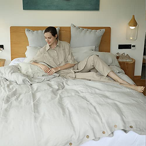 SimpleOpulence 100 Linen Duvet Cover Set With Coconut Button Closure Washed 3 Pieces 1 Duvet Cover 2 Pillowcases Soft Breathable Farmhouse Light Grey California King Size 0 4