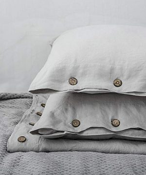 SimpleOpulence 100 Linen Duvet Cover Set With Coconut Button Closure Washed 3 Pieces 1 Duvet Cover 2 Pillowcases Soft Breathable Farmhouse Light Grey California King Size 0 5 300x360