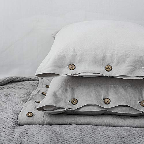 SimpleOpulence 100 Linen Duvet Cover Set With Coconut Button Closure Washed 3 Pieces 1 Duvet Cover 2 Pillowcases Soft Breathable Farmhouse Light Grey California King Size 0 5