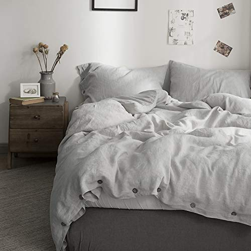 SimpleOpulence 100 Linen Duvet Cover Set With Coconut Button Closure Washed 3 Pieces 1 Duvet Cover 2 Pillowcases Soft Breathable Farmhouse Light Grey California King Size 0