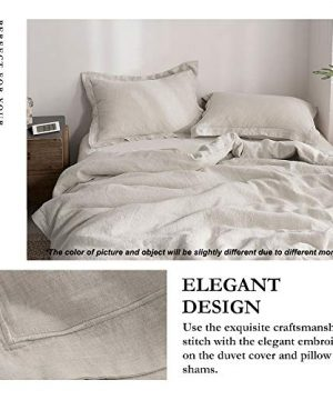 SimpleOpulence 100 Linen Duvet Cover Set With Embroidery Washed 3 Pieces 1 Duvet Cover With 2 Pillow Shams With Button Closure Soft Breathable Farmhouse Linen California King Size 0 0 300x360