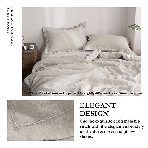 SimpleOpulence 100 Linen Duvet Cover Set With Embroidery Washed 3 Pieces 1 Duvet Cover With 2 Pillow Shams With Button Closure Soft Breathable Farmhouse Linen California King Size 0 0