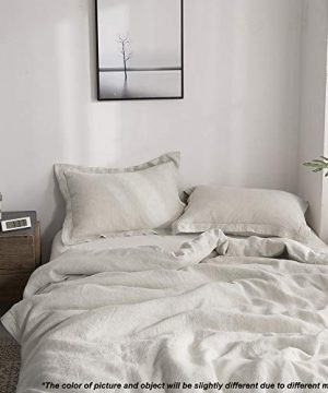 SimpleOpulence 100 Linen Duvet Cover Set With Embroidery Washed 3 Pieces 1 Duvet Cover With 2 Pillow Shams With Button Closure Soft Breathable Farmhouse Linen California King Size 0 3 300x360