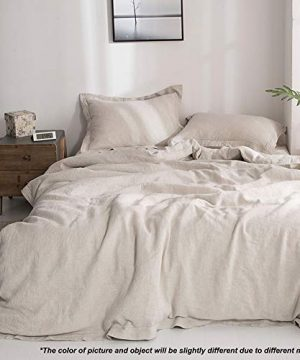 SimpleOpulence 100 Linen Duvet Cover Set With Embroidery Washed 3 Pieces 1 Duvet Cover With 2 Pillow Shams With Button Closure Soft Breathable Farmhouse Linen California King Size 0 4 300x360