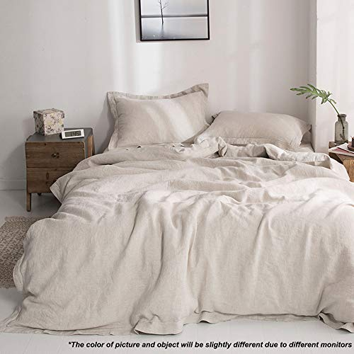 SimpleOpulence 100 Linen Duvet Cover Set With Embroidery Washed 3 Pieces 1 Duvet Cover With 2 Pillow Shams With Button Closure Soft Breathable Farmhouse Linen California King Size 0 4