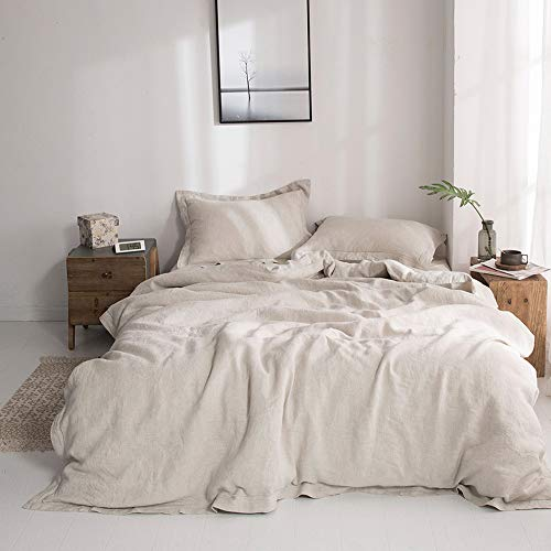 SimpleOpulence 100 Linen Duvet Cover Set With Embroidery Washed 3 Pieces 1 Duvet Cover With 2 Pillow Shams With Button Closure Soft Breathable Farmhouse Linen California King Size 0