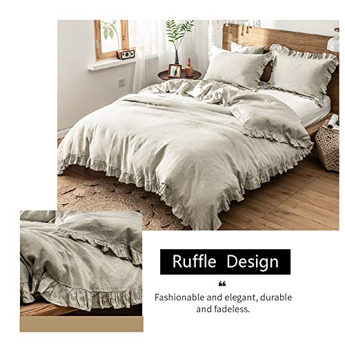 SimpleOpulence 100 Washed French Linen Duvet Cover Set Twin Size 2 Pieces Premium Ruffled Farmhouse Bedding 1 Comforter Cover And 1 Pillowsham Natural Flax High End Floral Frill SetsNatural Linen 0 1