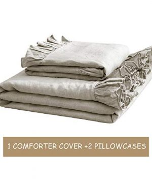 SimpleOpulence 100 Washed French Linen Duvet Cover Set Twin Size 2 Pieces Premium Ruffled Farmhouse Bedding 1 Comforter Cover And 1 Pillowsham Natural Flax High End Floral Frill SetsNatural Linen 0 2 300x360