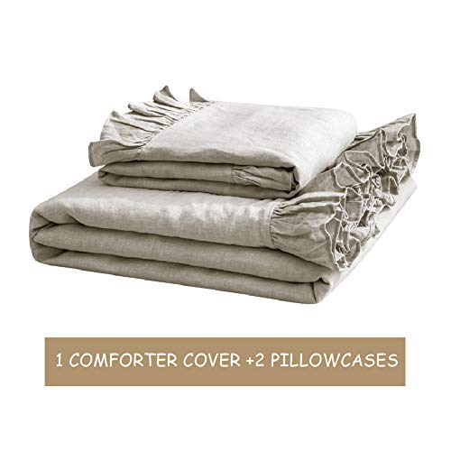 SimpleOpulence 100 Washed French Linen Duvet Cover Set Twin Size 2 Pieces Premium Ruffled Farmhouse Bedding 1 Comforter Cover And 1 Pillowsham Natural Flax High End Floral Frill SetsNatural Linen 0 2