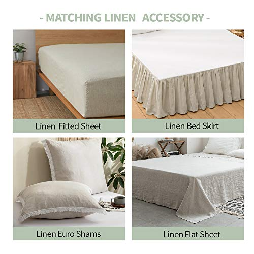 SimpleOpulence 100 Washed French Linen Duvet Cover Set Twin Size 2 Pieces Premium Ruffled Farmhouse Bedding 1 Comforter Cover And 1 Pillowsham Natural Flax High End Floral Frill SetsNatural Linen 0 3