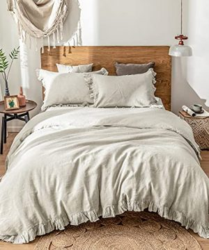 SimpleOpulence 100 Washed French Linen Duvet Cover Set Twin Size 2 Pieces Premium Ruffled Farmhouse Bedding 1 Comforter Cover And 1 Pillowsham Natural Flax High End Floral Frill SetsNatural Linen 0 300x360