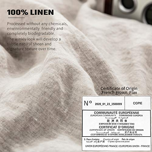 SimpleOpulence 100 Washed French Linen Duvet Cover Set Twin Size 2 Pieces Premium Ruffled Farmhouse Bedding 1 Comforter Cover And 1 Pillowsham Natural Flax High End Floral Frill SetsNatural Linen 0 5