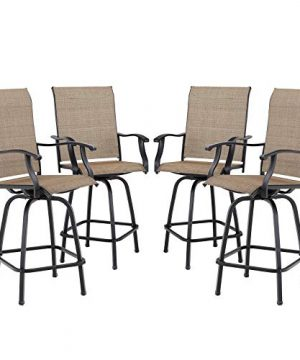 Sophia William Swivel Bar Stool 4 Pcs Patio Bar Chairs All Weather Breathable Textilene 0 300x360