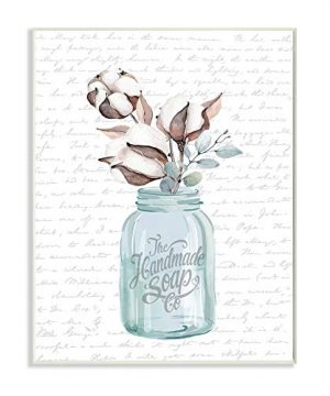 Stupell Industries Handmade Soap Jar Cotton Flower Bathroom Word Design By Artist Lettered And Lined Wall Art 10 X 15 Wood Plaque 0 300x360