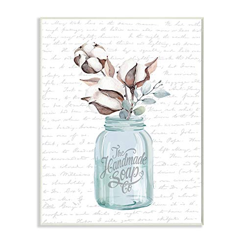 Stupell Industries Handmade Soap Jar Cotton Flower Bathroom Word Design By Artist Lettered And Lined Wall Art 10 X 15 Wood Plaque 0