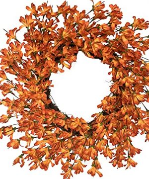 Summer Fall Front Door Wreath 24 Inch Orange Forsythia Flower Farmhouse Grapevine Wreath Blossom Cluster Wreath For Festival Celebration Front Door Wall Window Party Decoration Home Decor 0 300x360