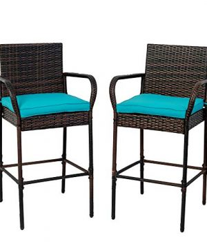 Sundale Outdoor Bar Stools Set Of 2 2 Piece Wicker Bar Stools Rattan Chairs Patio Bar Chair With Arms Cushion Blue All Weather Wicker Patio Furniture Steel Brown 0 300x360