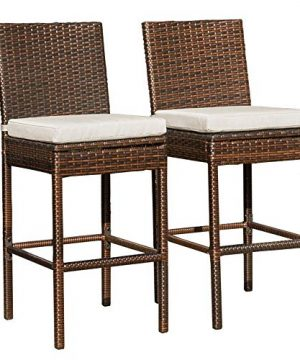 Sundale Outdoor Bar Stools Set Of 2 Wicker Rattan Bar Stool Armless 2 Piece Wicker Chairs Patio Bar Chair With Cushion Beige All Weather Outdoor Rattan Furniture Aluminum Brown 0 300x360