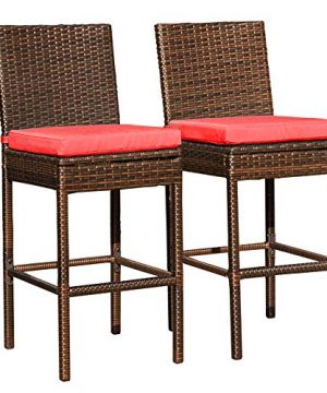 Sundale Outdoor Patio Stools Bar Chairs Armless Outdoor Bar Stools Set Of 2 2 Piece Wicker Chairs Bar Chairs With Cushion Red All Weather Patio Furniture Aluminum Brown 0 300x360