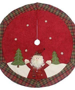 Sunnyglade 48 Christmas Tree Skirt Double Layer Design Santa Pattern Burlap Christmas Tree Skirt With Buffalo Plaid Edges For Xmas Holiday Decorations Plaid 0 300x360