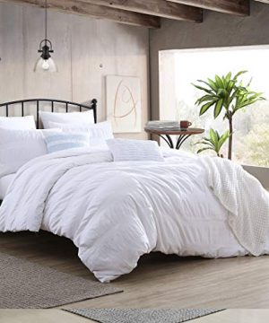Swift Home Moselle Cotton Ruched Waffle Weave Duvet Cover Set Oeko Tex CertifiedButton Closure All Season White FullQueen 88 X 92Comforter NOT Included 0 300x360