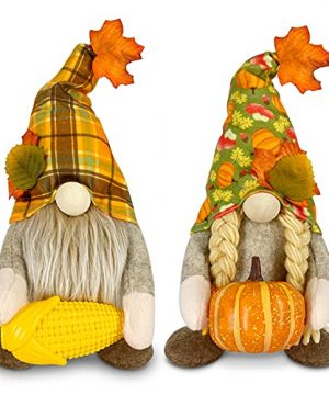 TURNMEON Set Of 2 Gnomes Plush Fall Thanksgiving Decorations Hold Pumpkin Corn Mr And Mrs Scandinavian Swedish Tomte Doll Elf Autumn Harvest Decorations For Indoor Home Kitchen Table Ornaments Gifts 0 300x360