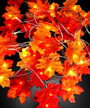 Thanksgiving Decorations Maple Leaves String Lights Fall Garland With Lights 98FT 30 LED Battery Operated Halloween String Lights Fall Decor For Home Farmhouse Thanksgiving Harvest Holiday 0 300x360